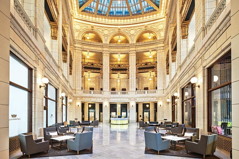 The lobby of the 1915 David Whitney building reflects the  grandeur of times gone by. It was converted from medical offices  into residences in 2015, a  century after it was built.  Photo: The Roxbury Group