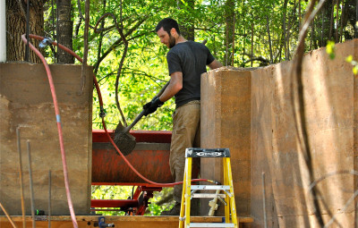 Rammed earth project underway in Charleston, SC. Root Down Designs; image courtesy of David Quick