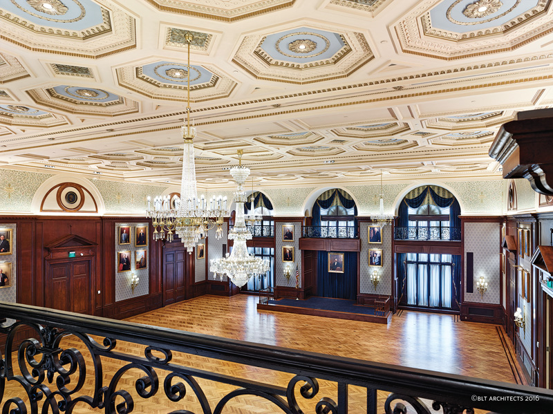 The historic Lincoln Ballroom in Philadelphia's Union League has a new lease on life, thanks to a $3.4-million renovation led by BLT Architects. A significant part of the project was the creation of a new coffered ceiling based on an original sketch by Horace Trumbauer. (All photos: Jeffrey Totaro)