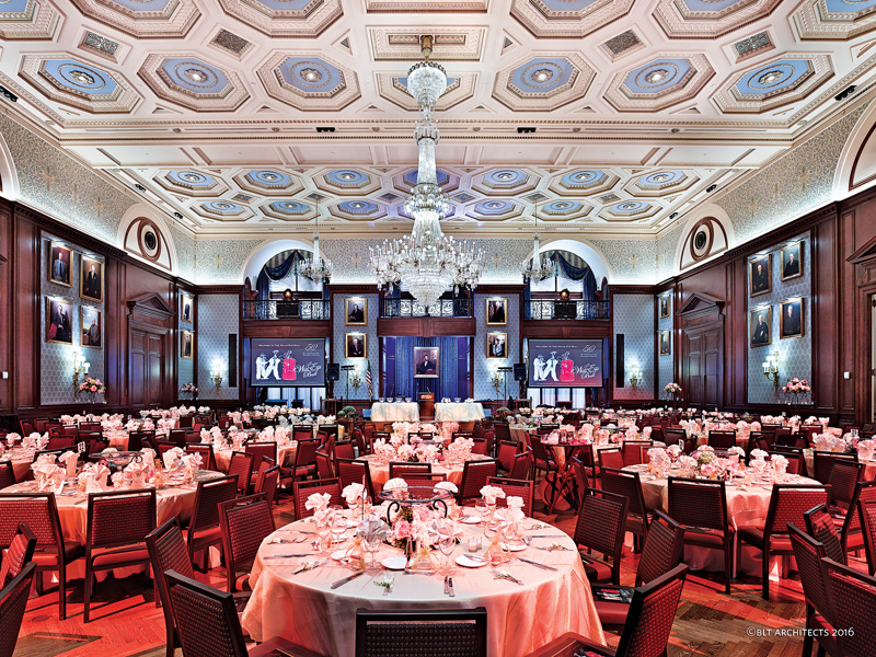 The Lincoln Ballroom can now accommodate a variety of different types of events. The original central chandelier was restored and four similar smaller ones were added to the corners of the room.