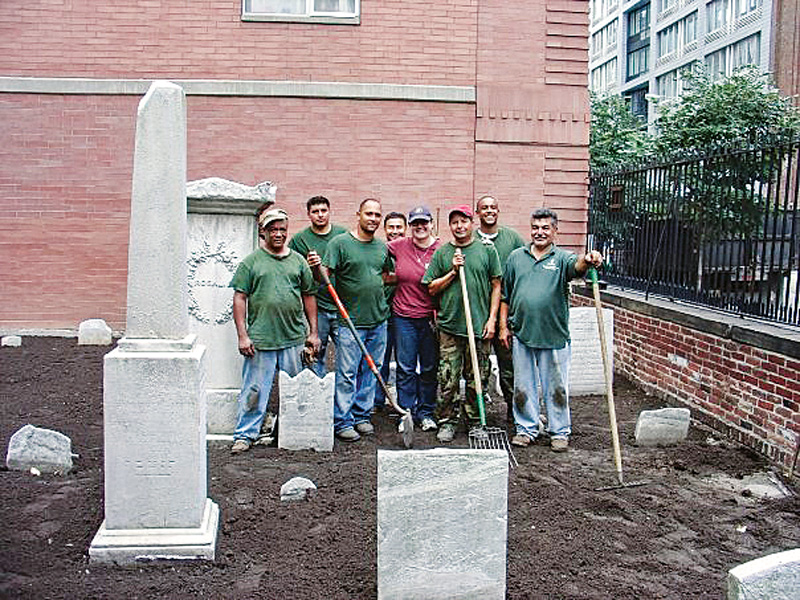 Franck with the landscape crew at a Historic Cemetery Preservation Project.