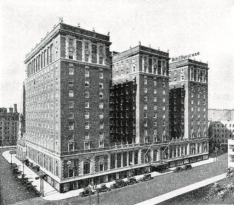 Completed in 1924, the historic Hotel Syracuse (shown in this 1928 photo) was designed by William Stone Post of George B. Post & Sons and was the site of many gala events in the roaring 20s and beyond. The 473,000-sq.ft. hotel consists of three towers and originally had approximately 600 rooms. It has recently been saved by Ed Riley of Syracuse, working with Holmes-King-Kallquist & Associates and MLG Architects. (Photo: courtesy of Hotel Syracuse)