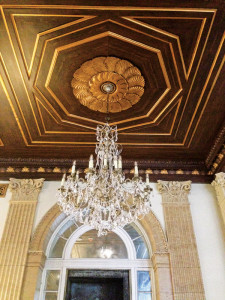 These are two of the many historic chandeliers restored by Grand Light.