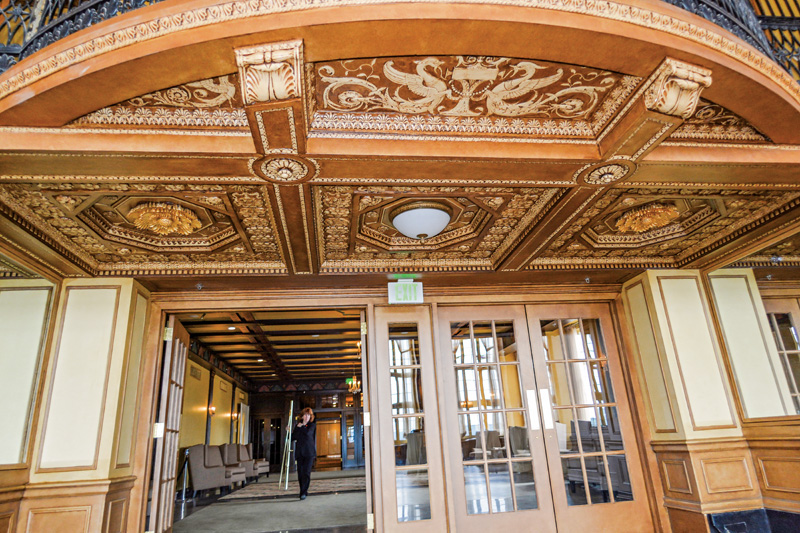 The entry to the Grand Ballroom shows the artistry of the plaster and decorative finishes.